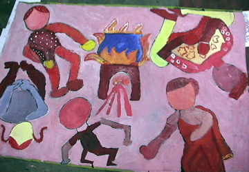 Mam art domestic labour painting 2