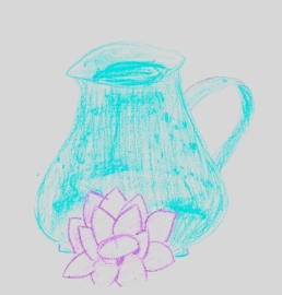 Blue jug with candle holder