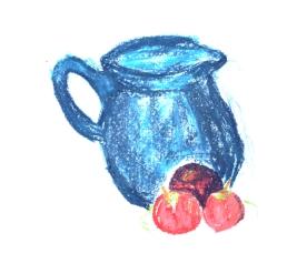 Blue jug with fruit