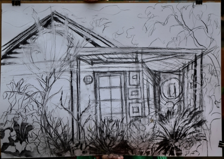 Justine's charcoal study of my studio and garden