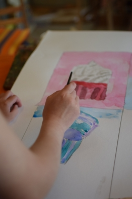 Alyssa working on her large watercolour